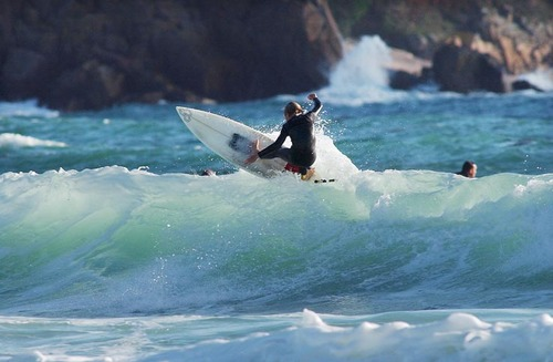 Surfing at St Brelade's Bay